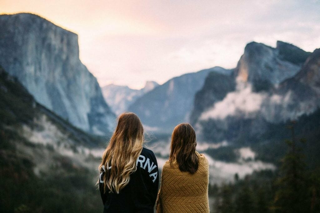 Picture showing camper girls gazing at the mountains
