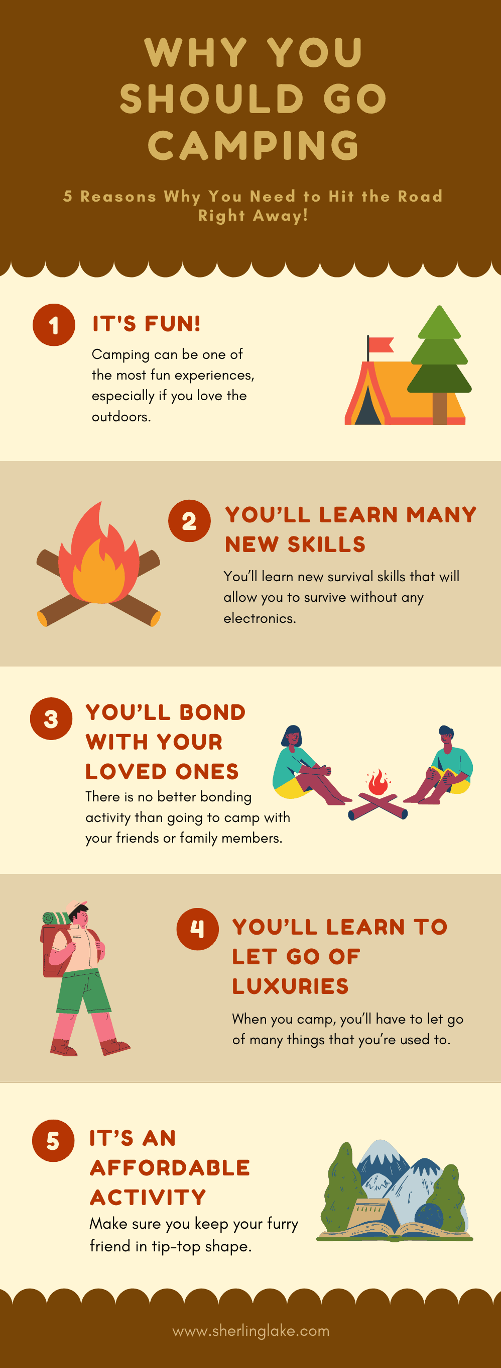 Infographic showing why you need to go camping as part of the camping guide by Sherlinglake.com